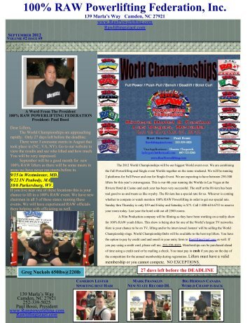 2012 Sept Newsletter - Raw Powerlifting