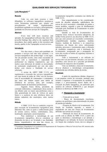 qualidade nos serviços topográficos - Boletim Técnico da FATEC-SP