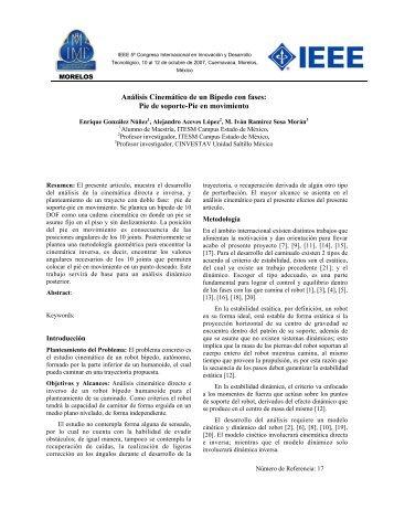 Análisis Cinemático de un Bípedo con fases: Pie de soporte-Pie en ...