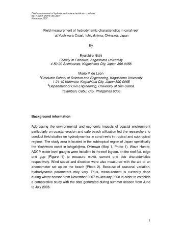 Field measurement of hydrodynamic characteristics ... - Oneocean.org