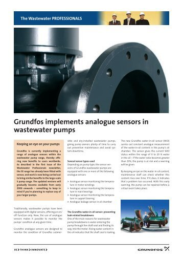 Grundfos implements analogue sensors in wastewater pumps