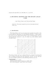 A DECODING METHOD FOR THE BINARY GOLAY CODE Jae Yeon ...