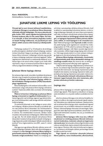 JUHATUSE LIIKME LEPING VÕI TÖÖLEPING - Sorainen
