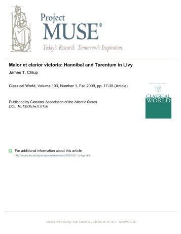 Maior et clarior victoria: Hannibal and Tarentum in Livy