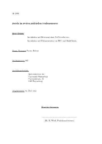Bericht im zweiten praktischen Studiensemester - Dr. Hubert Feyrer