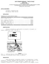 AUTO TRANS OVERHAUL - F3A21 & F3A22 Article Text - Webs
