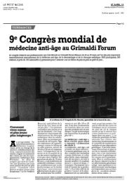 9e Congrès mondial de médecine anti-âge au ... - EuroMediCom