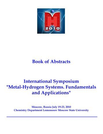 """Book of Abstracts International Symposium """"Metal-Hydrogen ..."""