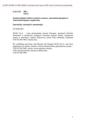 GALAXY 280 i 310 Fi Ketiniai dujiniai katilai su boileriu - E-servisas