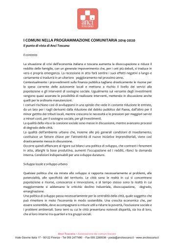 Uso efficace dei fondi comunitari 2014-2020 - RisorseComuni