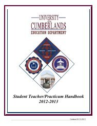 Student Teacher Handbook Download - University of the Cumberlands