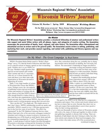 2009 Spring - Wisconsin Writers Association