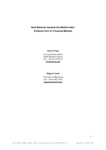 Herd Behavior towards the Market Index: Evidence from 21 ...