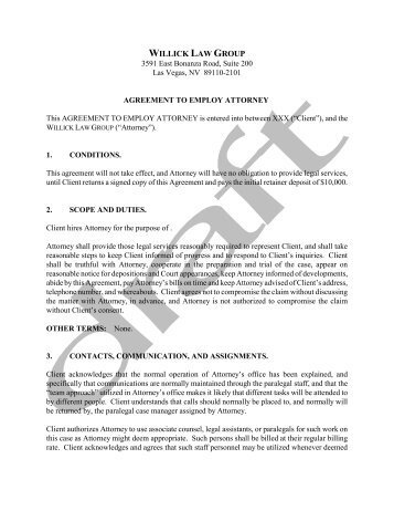 Sample Retainer Agreement Willick Law Group