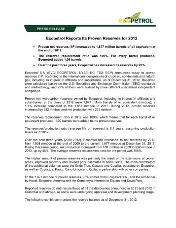 Ecopetrol Reports Its Proven Reserves for 2012