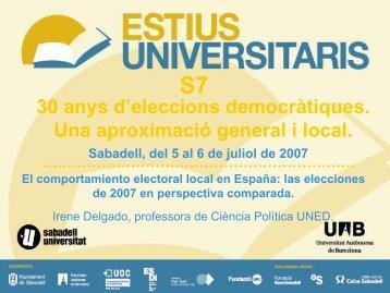 Las elecciones municipales de 2007 en perspectiva comparada