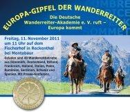 EUROPA-GIPFEL DER WANDERREITER - Wanderreiter-Magazin