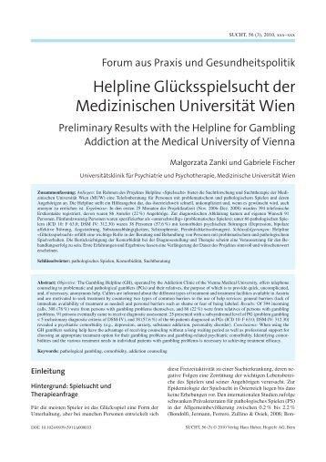 Helpline Glücksspielsucht der Medizinischen ... - Sucht und Drogen