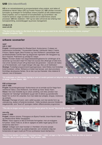 UiD (Un-identified) urbane scenarier
