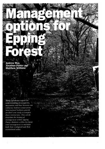 Management Options for Epping Forest - Field Studies Council