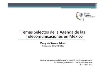 Temas Selectos de la Agenda de las Telecomunicaciones ... - Cofetel