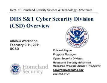 DHS S&T Cyber Security Division (CSD) Overview AIMS-3 ... - Caida