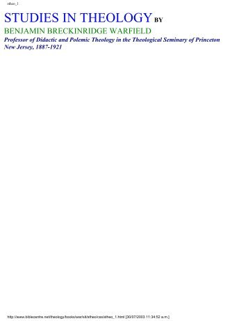 Studies in Theology (.pdf) - David Cox