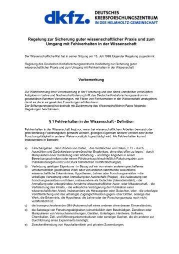 Regelung zur Sicherung guter wissenschaftlicher Praxis und zum ...