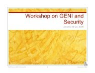 Workshop on GENI and Security - UC Davis Computer Security Lab