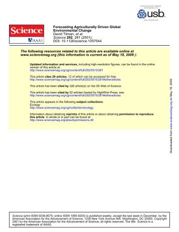 DOI: 10.1126/science.1057544 , 281 (2001); 292 Science et al ...