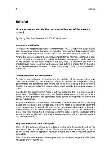 Editorial of World Robotics Service Robots 2012
