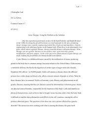 Christopher Leal Dr. Le Febvre Cosmos Cluster # 7 07-24-12 Gene ...