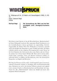 Gerhard Nagl Artikel Gerhard Nagl Die Vermarktung ... - Widerspruch