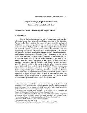 Export Earnings, Capital Instability and - Lahore School of Economics
