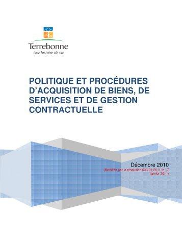 POLITIQUE ET PROCÉDURES D'ACQUISITION DE BIENS, DE ...
