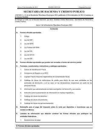 ANEXOS 1 y 1A de la Resolución Miscelánea Fiscal para 2012 ...