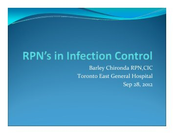 RPN's in Infection Control: The New Frontier - RPNAO