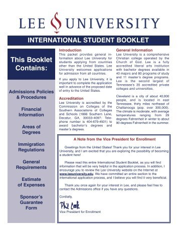 This Booklet Contains: - Lee University