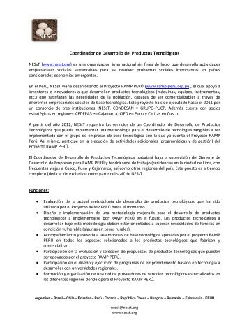 Coordinador de Desarrollo de Productos Tecnológicos - NESsT