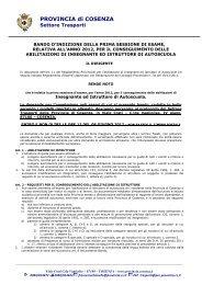 BANDO 1 2012 esami insegnanti ed istruttori - Provincia di Cosenza