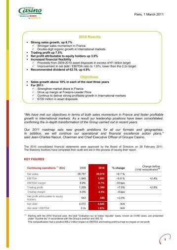 Press release 2010 - Groupe Casino