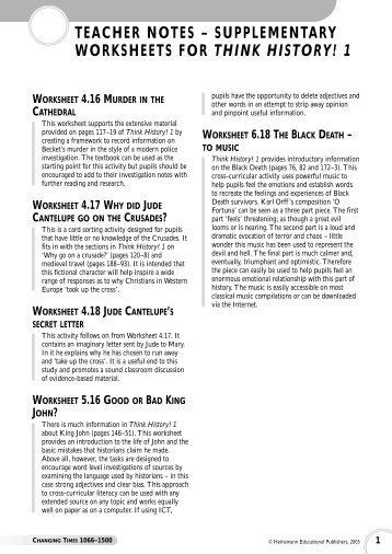 Think History! Free worksheets (Jan 06) - Pearson Schools