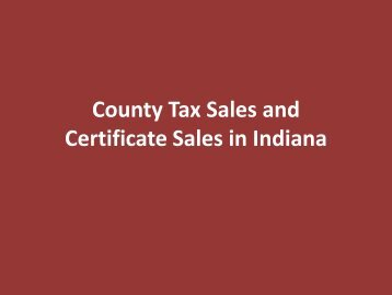 Introduction to County Tax and Commissioner ... - SRI Incorporated