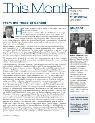 Student Profile From the Head of School - Episcopal Academy