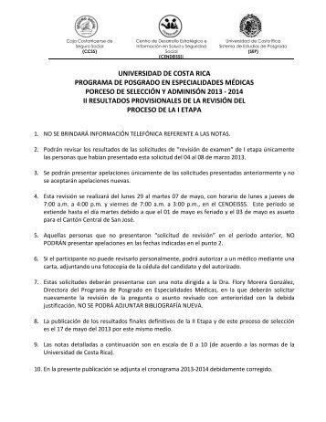 II Resultados Provisionales I etapa 2013-2014 - CENDEISSS