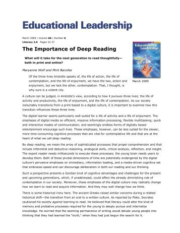 The Importance of Deep Reading - Oldham County Schools