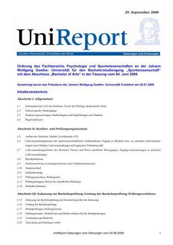 Ordnung des Fachbereichs Psychologie und Sportwissenschaften ...