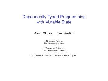 Dependently Typed Programming with Mutable State