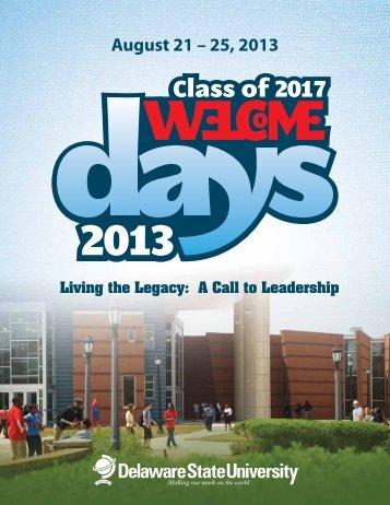 August 21 – 25, 2013 - Delaware State University