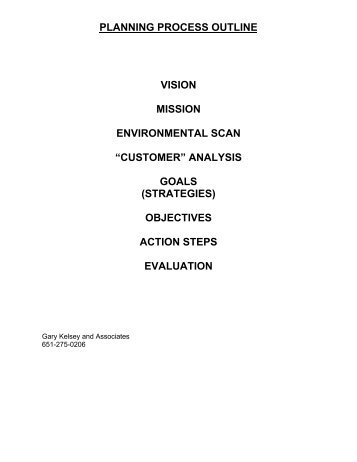 planning process outline vision mission environmental scan